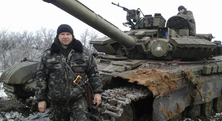 Alexei Chaban and captured Russian tank